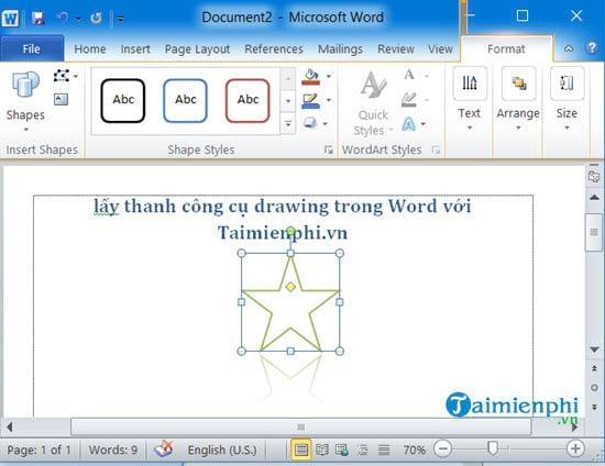 Cách lấy thanh công cụ drawing trong Word 7