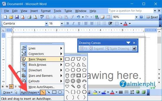 Cách lấy thanh công cụ drawing trong Word 9