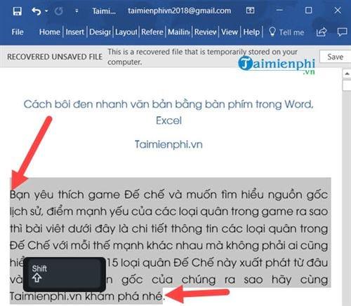 Cách bôi đen nhanh văn bản bằng bàn phím trong Word, Excel 2