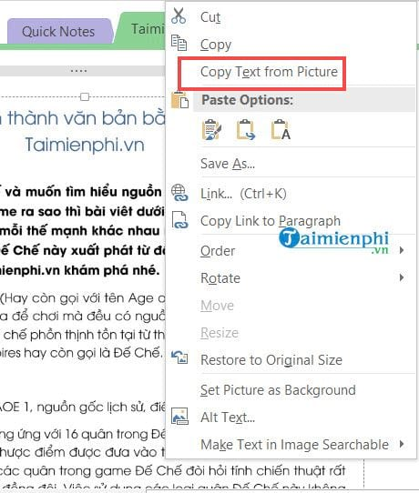 How to switch pictures with onenote 6