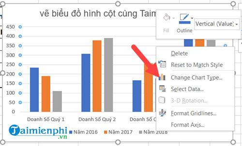 Cách vẽ biểu đồ hình cột trong Excel 2019, 2016, 2013, 2010, 2007, 2003 12