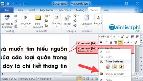 Cách tạo comment trong Word, tạo và xóa comment 10