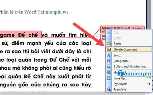 Cách tạo comment trong Word, tạo và xóa comment 13