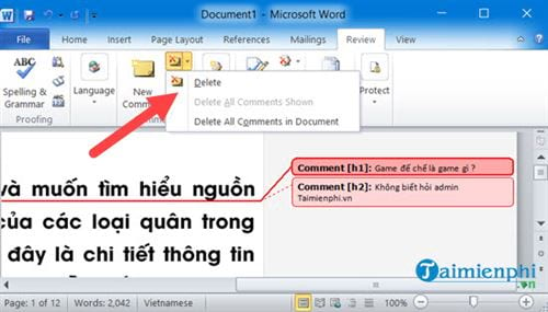 Cách tạo comment trong Word, tạo và xóa comment 9