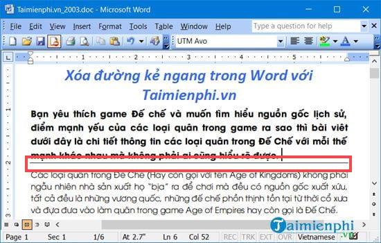 Cách xóa đường kẻ ngang trong Word 10