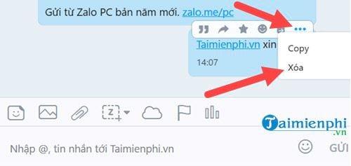 Cách xóa và thu hồi tin nhắn trên Zalo trên máy tính và điện thoại 3