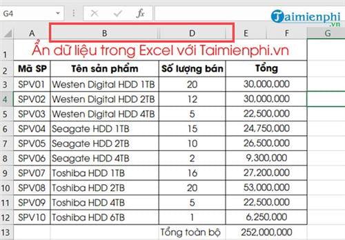 Ẩn hiện dữ liệu trong Excel 10