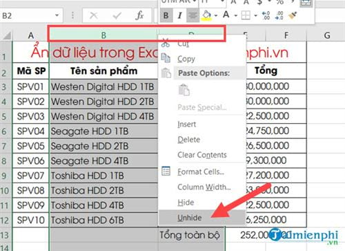 Ẩn hiện dữ liệu trong Excel 11