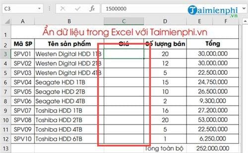 Ẩn hiện dữ liệu trong Excel 4