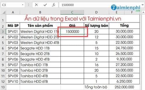 Ẩn hiện dữ liệu trong Excel 5
