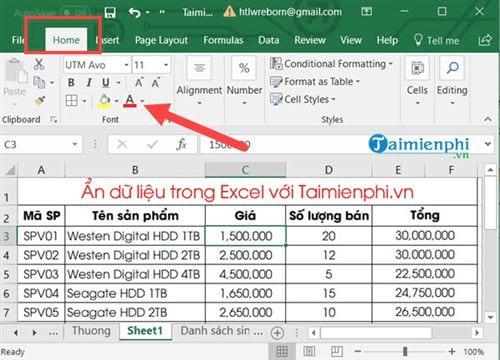 Ẩn hiện dữ liệu trong Excel 6