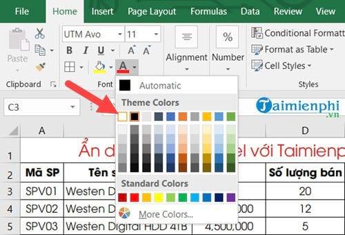 Ẩn hiện dữ liệu trong Excel 7