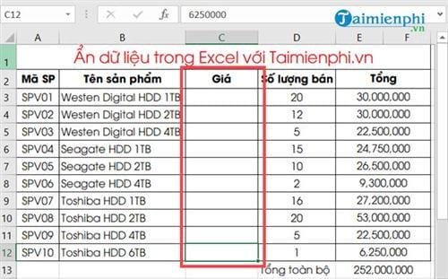 Ẩn hiện dữ liệu trong Excel 8