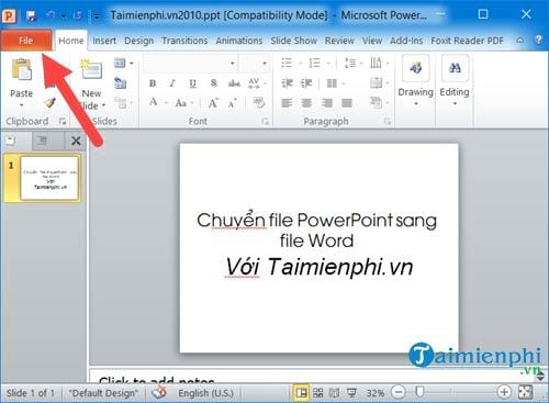 cach chuyen file powerpoint sang file word 10