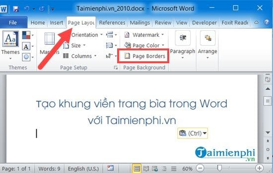 cach tao khung bia trong word 2013