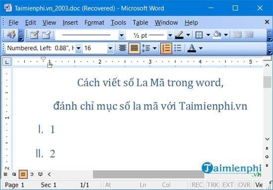 Cách viết số La Mã trong Word, đánh chỉ mục số la mã 18