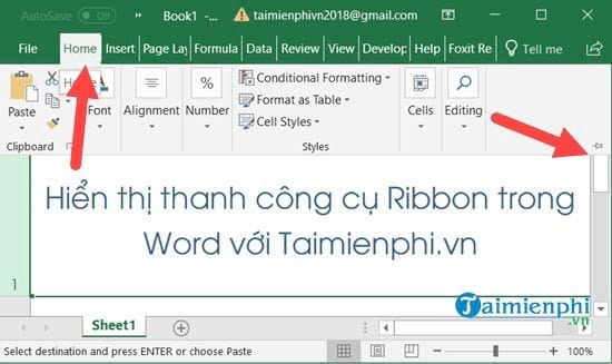 Ẩn, hiện thanh công cụ Ribbon trong Word, Excel 2016, 2013