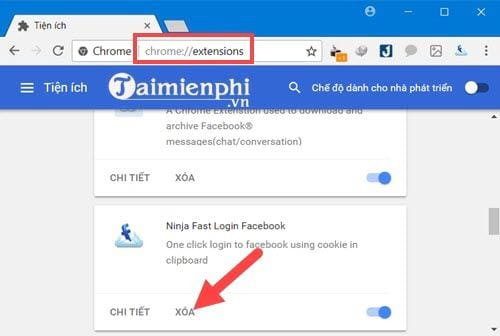 Gỡ bỏ Ninja Fast Login Facebook trên Coc Coc, Chrome, tiện