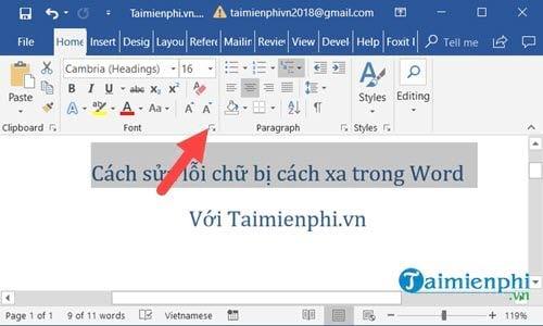 Cách sửa lỗi chữ bị cách xa trong Word 5