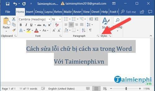 Cách sửa lỗi chữ bị cách xa trong Word 7