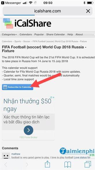 them lich thi dau world cup 2018 vao iphone