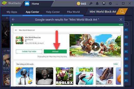 Cách chơi Mini World Block Art trên PC bằng giả lập Android 2