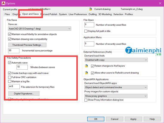 Cách backup file AutoCAD tự động