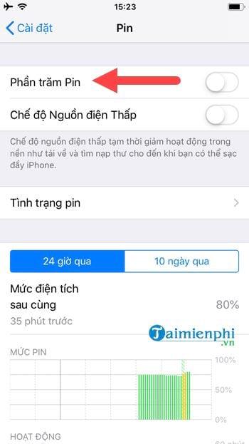 cach bat phan tram pin tren iphone 4
