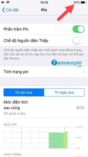cach bat phan tram pin tren iphone 5