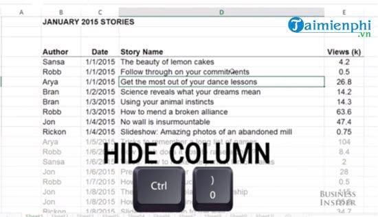 Phím tắt ẩn, hiện dòng cột trong Excel 2