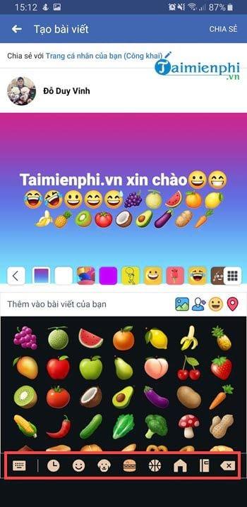 Cách viết icon Facebook trên điện thoại 8