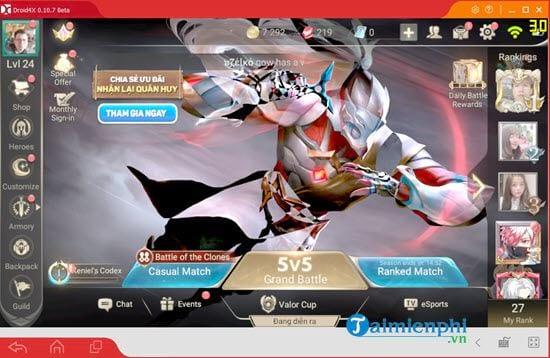 Cách chơi Liên Quân Mobile trên máy tính bằng Droid4X