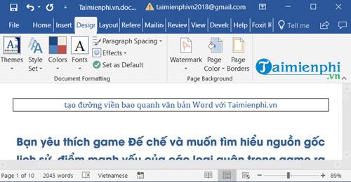 Cách tạo đường viền, làm khung, border trong văn bản Word 5