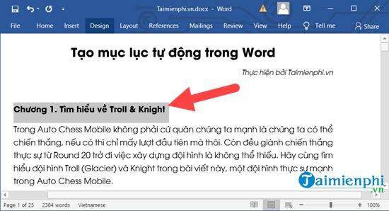 Cách tạo mục lục tự động trong Word 2