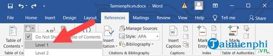 Cách tạo mục lục tự động trong Word 5