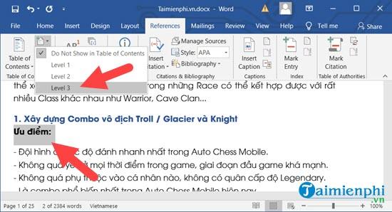 Cách tạo mục lục tự động trong Word 7