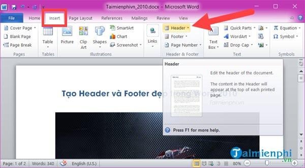 cach tao Header va Footer trong Word 2010