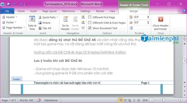 Cách tạo Header và Footer đẹp trong Word 2010 7