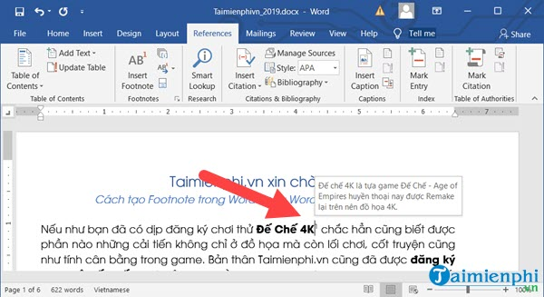 Cách tạo Footnote trong Word 4