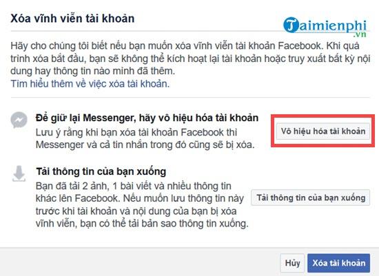 Xóa tài khoản Facebook tạm thời và vĩnh viễn 4