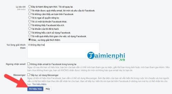 Xóa tài khoản Facebook tạm thời và vĩnh viễn 5