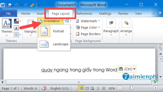 Cách xoay khổ giấy trong Word, quay ngang, dọc trang Word 2