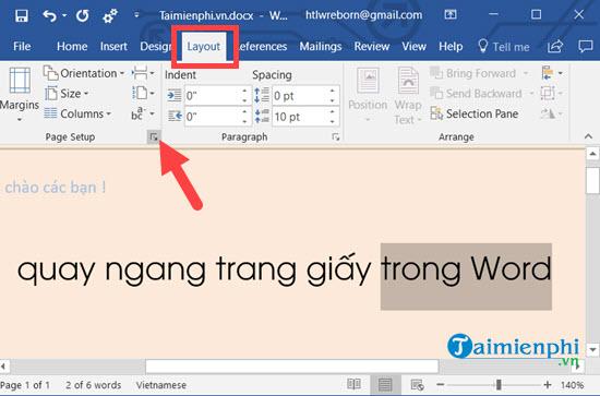 Cách xoay khổ giấy trong Word, quay ngang, dọc trang Word 5