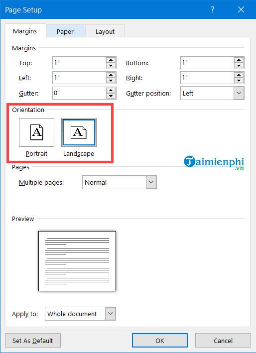 Cách xoay khổ giấy trong Word, quay ngang, dọc trang Word 6