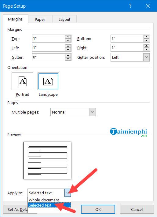 Cách xoay khổ giấy trong Word, quay ngang, dọc trang Word 7