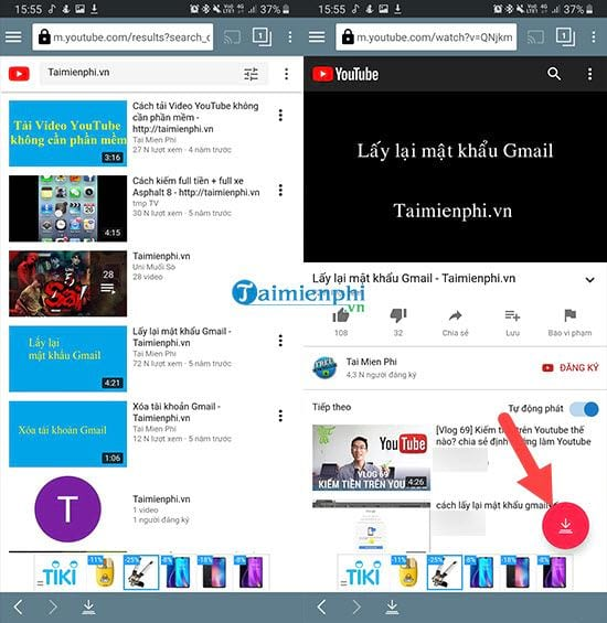 Download youtube video on your phone in tubemate 7