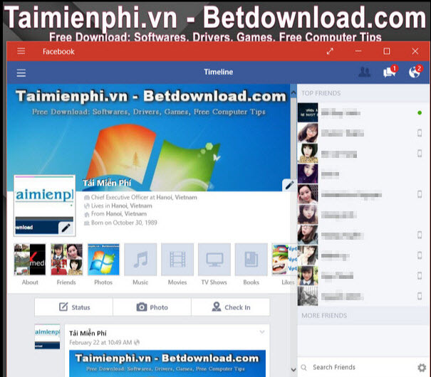 cai facebook pc win 10