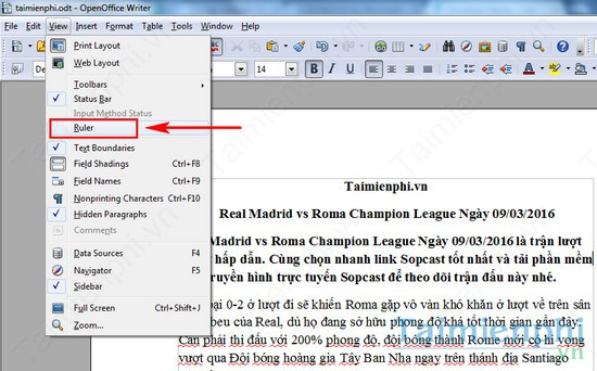 The test is subject to openoffice
