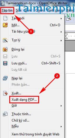 luu file word sang pdf trong openoffice