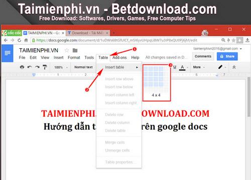 Tạo, xóa bảng trong Google Docs
